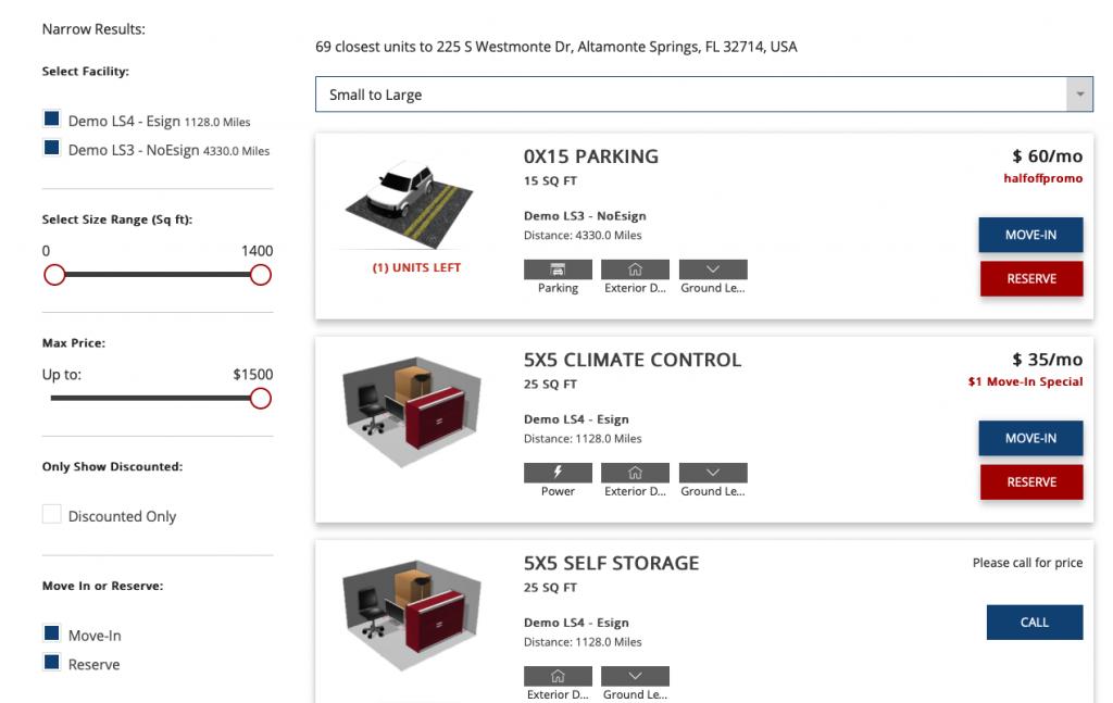 ClickandStor Rental Tool Demo